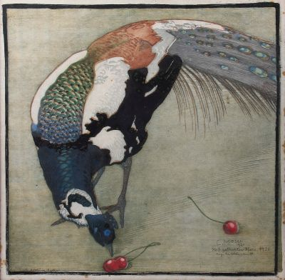 [Translate to English:] Carl Moser, Weißgefleckter Pfau Nr. 20, Grafik