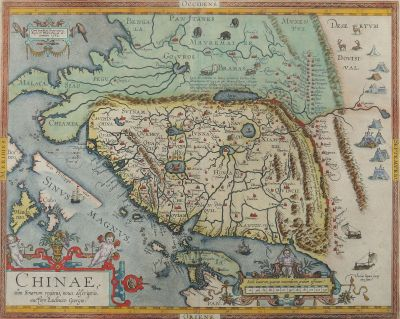 [Translate to English:] Abraham Ortelius, Chinae, osim Sinarum regionis, nova descriptio, datiert 1592, Grafik