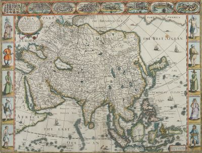 "[Translate to English:] John Speed, ""Asia, with the Islands adioyning described, the atire of the people, & Townes of importance"", 1626, Grafik"
