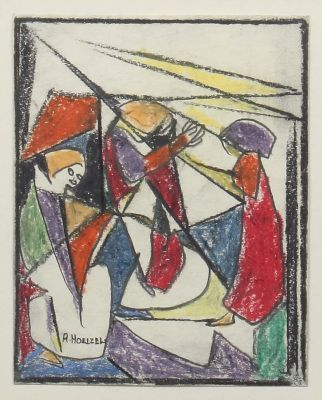 [Translate to English:] Adolf Hölzel, Figürliche Komposition mit 3 Personen, moderne Grafik