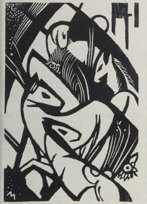 [Translate to English:] Franz Marc, Springende Pferdchen, moderne Grafik