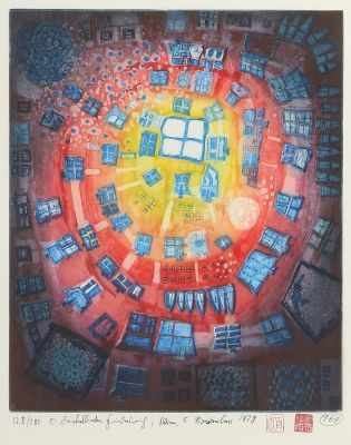 [Translate to English:] Friedensreich Hundertwasser, Window out of the Pond, datiert 1978, moderne Grafik